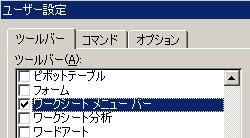 エクセルのユーザー設定画面