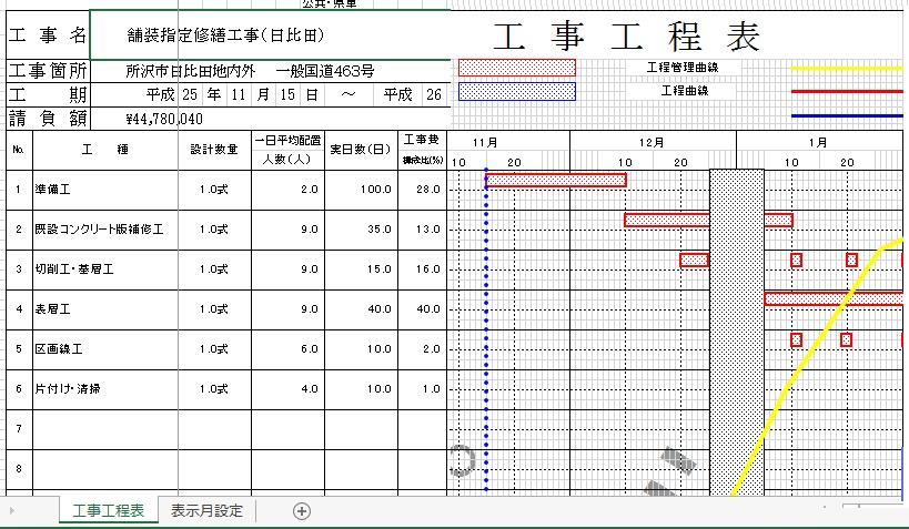 エクセル工事工程表_埼玉県型6ヶ月と7ヶ月と8ヶ月