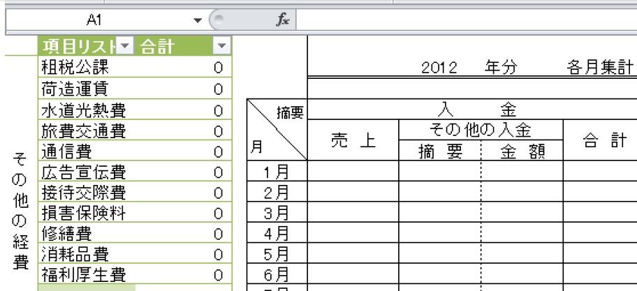 エクセルの簿記申告(マクロ・関数)テンプレート