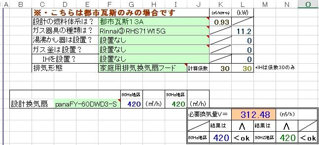 エクセル火気使用室換気計算