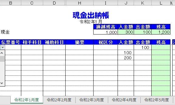 エクセルの現金出納帳の令和2年用