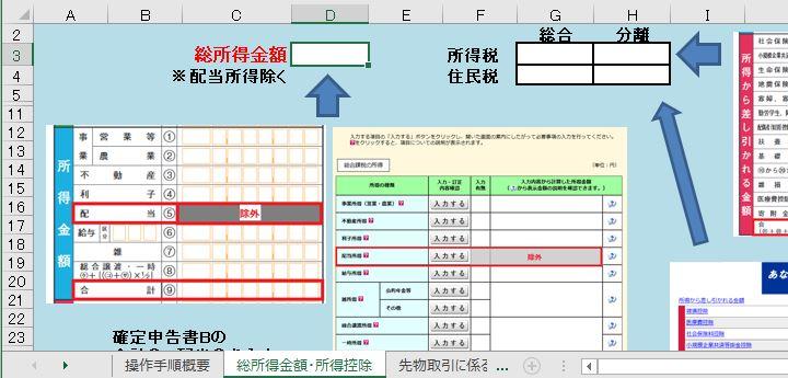 エクセルでFITS上場株式等課税方式有利選択