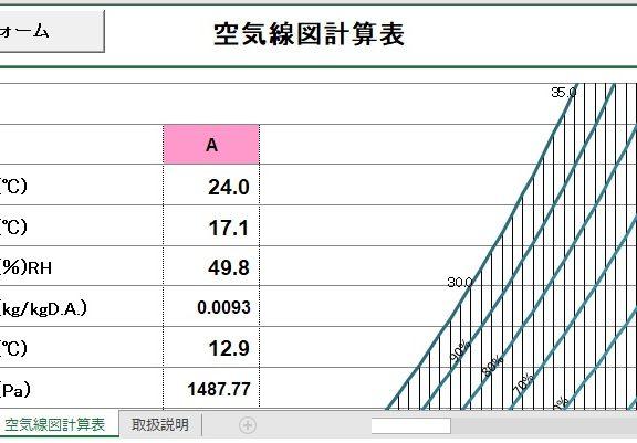 エクセルで空気線図計算