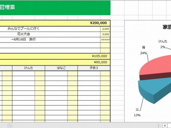 家族の夏休みスケジュール・予算管理票 エクセルテンプレート