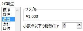 数値に通貨の円や¥の記号を不可して表示する